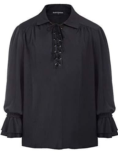 SCARLET DARKNESS Men's Halloween Costume Lace Up V Neck Long Sleeve Medieval Pirate Shirt Black L