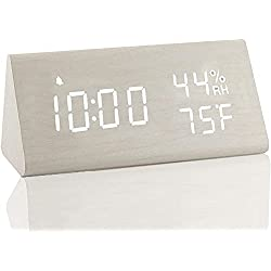 【2020 Upgraded】 Digital Wooden Alarm Clock, with 3 Alarm Settings, Electronic LED Time Display, 3 Level Brightness & Temperature, Good for Bedroom, Bedside, Desk, Office, Kids and Families, White