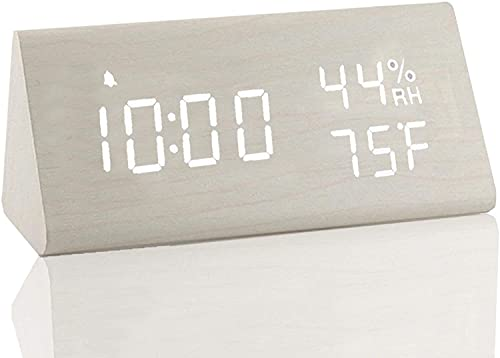 ZONJIE 2021 Sveglia Digitale, Sveglia da Viaggio con Ricarica USB, Batteria da 2000 mAh, Controllo vocale, Data, Temperatura, umidità, 12/24 H, Adatto per Ufficio Camera da Letto Viaggio (Bianca)