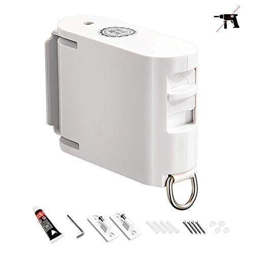Retractable Clothesline Indoors and Outdoors Heavy Duty Nail Free Apartment Clothes Lines Shower Laundry Drying Line Rope Reel Portable Backyard Windproof Non Slip Clothesline Cord