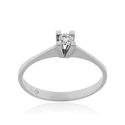 Gioiello Italiano - Anello solitario in oro bianco con diamante 0.20ct