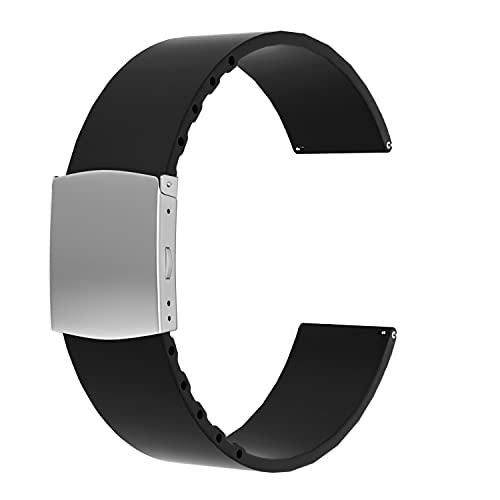 SOUWILA Correa Reloj Recambios Correa Relojes Caucho 14/16/18/20/22/24mm Silicona Correa Reloj con Acero Inoxidable Hebilla Desplegable (20mm, Black-Silver)
