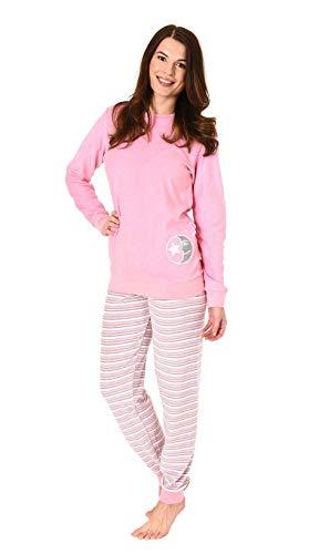 Damen Frottee Pyjama Schlafanzug Langarm mit Bündchen und süssem Mond Motiv - 61238, Farbe:Rose, Größe2:44/46