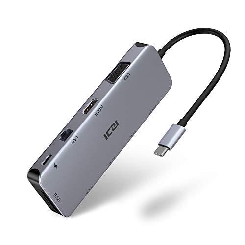 ICZI USB C Hub Aluminium, Hub Type C 10-en-1...