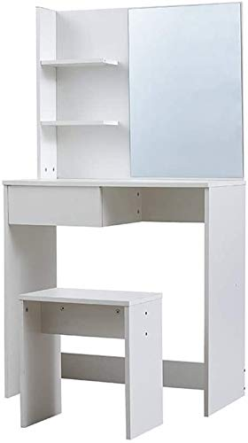 Estilo moderno mobiliario de madera, de madera cómoda del dormitorio Tocador con espejo y estantes abiertos,White