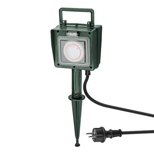 Gartensteckdose 2-fach | IP44 | mit Zeitschaltuhr | wasserfeste Außensteckdose | Outdoor 2x Steckdose Garten Stromverteiler | wetterfest | Außenbereich | mit Erdspieß | grün
