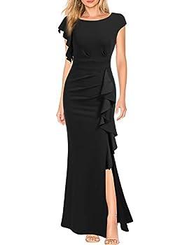 WOOSEA Women s Split Bodycon Mermaid Evening Cocktail Long Dress Black