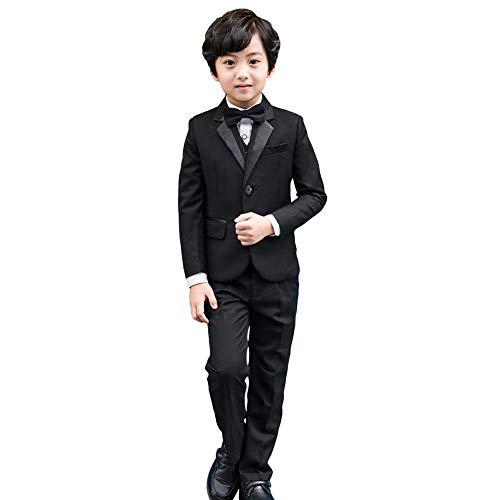5-tlg Jungen Smoking Schwarz Jungen Anzug,Page Boy Anzüge Jungen Hochzeit passt - 128/134 (Herstellergröße: 130)