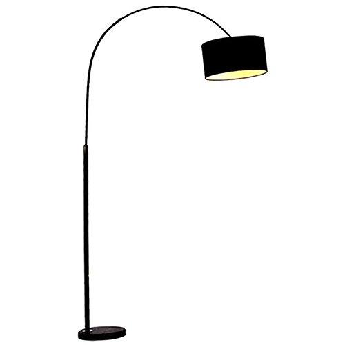 Lampe De Plancher De LED - Lampe De Plancher Incurvée Moderne Avec L'ombre De Tissu Et La Base De Marbre - Lampe De Plancher De Polonais Expansible, Appropriée Au Dortoir Ou À La Chambre De Bureau De Salon