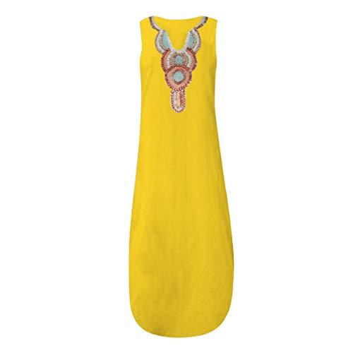 Vestido largo sin mangas color amarillo con cuello en V