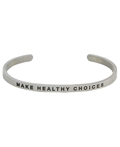 Buddha Groove Personal Inspirational Mantra Make Healthy Choices Adjustable Stainless Steel Cuff Stackable Bracelet | 4 mm Wide Open Design