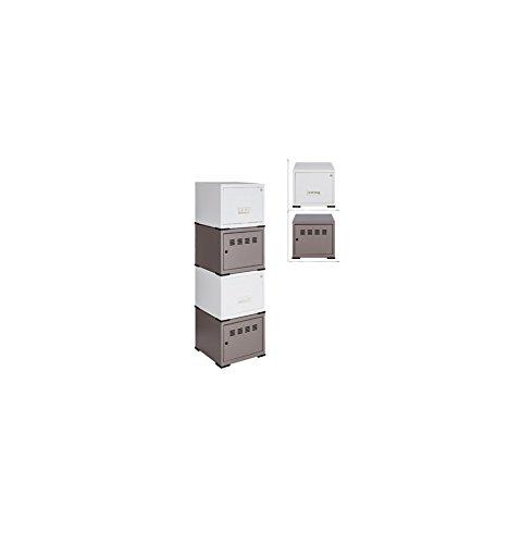Cube à Porte et Tiroir avec avec Kits de Liaison, Taupe/Blanc, Lot de 4