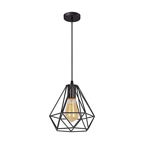 Fitsund - Pantalla para lámpara de techo E27, lámpara colgante de metal, lámpara de techo, para comedor, bar, dormitorio, sin bombilla, color negro