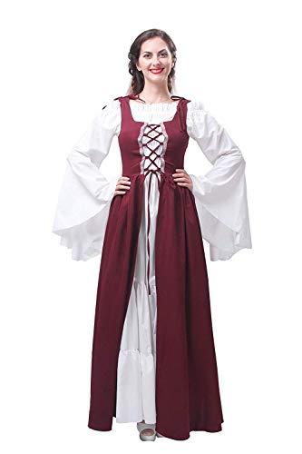 HX fashion Dames Middeleeuwse Jurk Retro Lange Comfortabele Maten Mouw Bierbar Serveerster Geserveerd Meid Traditionele Lange Jurken Elegante Mode Feestelijke Baljurk Feestjurk