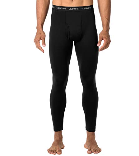 LAPASA Men's Heavyweight Thermal Underwear Pants Fleece Lined Long Johns Leggings Base Layer Bottom M25 (Black, Medium)