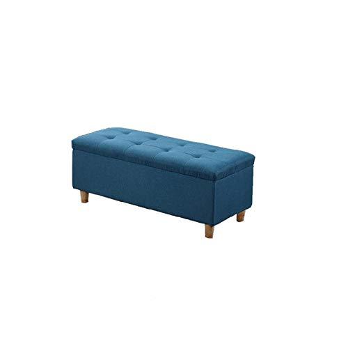BKWJ Taburete de Almacenamiento Cuadrado, Taburete de Almacenamiento de Marco de Madera Maciza, Taburete de sofá, Cambio de Zapatos, Caja de Almacenamiento, Azul (Color : 90 * 40 * 40cm)