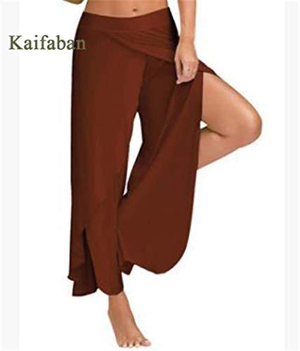 Yogabroek extra zachte legging met zakken voor dames,Damesbroek met wijde pijpen, grote maten, split fitness sportswear-J_XXL,Blouse met V-hals