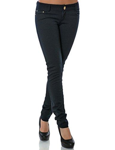 Damen Hose Treggings Skinny Röhre Stretch DA 13011 Farbe Navy Größe L / 40