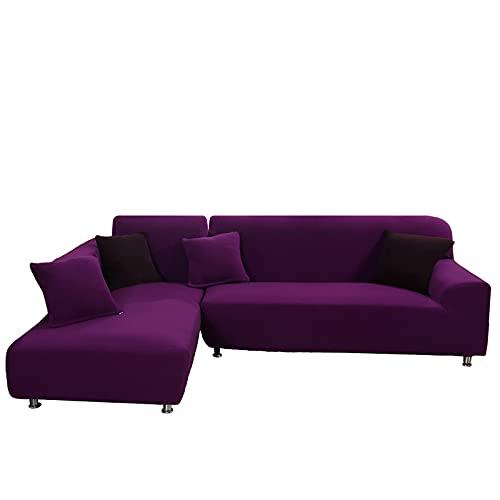 Funda para Sofà Seccional, 2 Piezas en Funda para Sofá en Forma de L Elástica Protector de Muebles Suave Antideslizante Lavable Universal para Sofá Esquinero,Purple,2+3 Seater