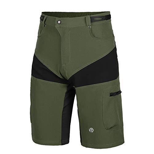 SKYSPER Pantaloncini da MTB Uomo, Abbigliamento da MTB Pantaloni Corti Bici con Striscia Riflettente per...