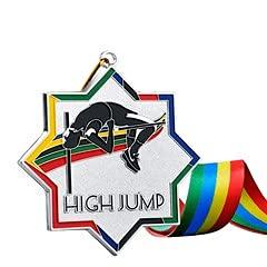 Watermzk Medallas de astilla profesionales personalizadas, para ganador de alto salto, logotipo personalizado grabado, 2.75 pulgadas de ancho, medallones con cinta de cuello, (salto alto)..