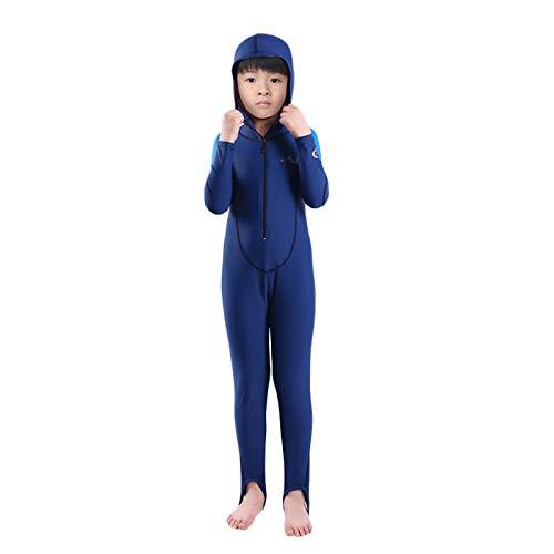 Traje de Neopreno para Niños y Niñas, Traje de Baño de Una Pieza Ultra Elástico Completo Wetsuit con Cremallera Frontal, para Deportes AcuáTicos,Boy-L
