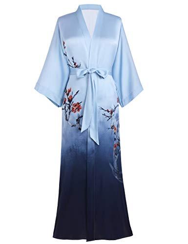 PRODESIGN Damen Morgenmantel Maxi Lang Kimono Gedruckt Bademantel Blumen Muster Robe Satin Damen Elegant Nachtwäsche (Blau)