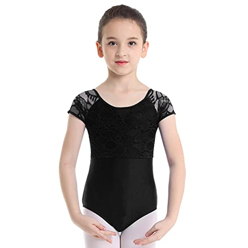 Freebily Kinder Mädchen Ballettanzug Ballett Trikot Kurzarm Rückenfrei Ballettbody Tanz Body Overall Bodysuit Gymnastikanzug Turnanzug Schwarz 152-164
