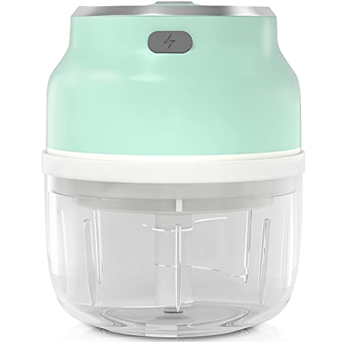 Electric Food Chopper, Upgrade 250ml BNT Mini Chopper with Improved Assembly, Powerful Garlic Chopper with Four Blade for Onions/Nuts/Pepper/Ginger/Salad/Fruits/Vegetables, Fast Chop Piece In Seconds