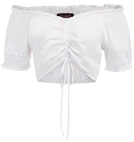 SCARLET DARKNESS Trachten Couture Elegante Dirndlbluse Wiesnherz Transparente Ärmel - Damen Dirndl Bluse mit Spitze XL