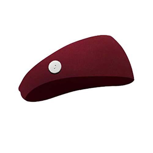 KUDICO Stirnband Herren Damen Kopfband Haarband Turban mit Knopf Elastische Weiche Einfarbig für Alltag Yoga Sport Fitness Wandern(Wein)