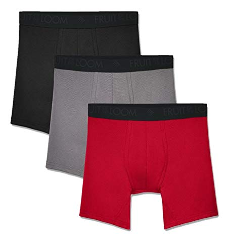 Fruit of the Loom mens Breathable Underwear Boxer Briefs, Boxer Brief - Micro Mesh 3 Pack, Large US