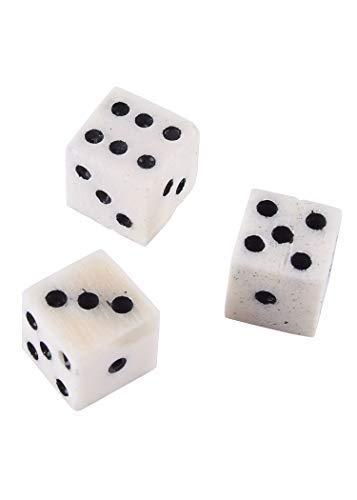 Ulfberth botblokjes, 3 stuks - kubus uit botten - voor dagelijks gebruik, rollenspel, LARP, middeleeuwen of Viking