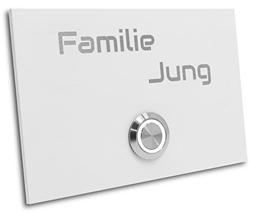 Jung-Edelstahl-Design Türklingel London 4 Größe 120 X 80 X 3 mm weiß pulverbeschichtet Klingel mit Gravur LED Taster (weiß)