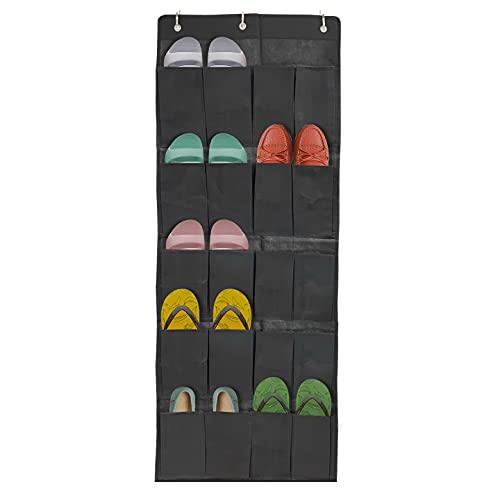 LANOMY Organizador de zapatos de 20 bolsillos para colgar sobre la puerta, 20 bolsillos grandes detrás de la puerta, zapatero para armario con 3 ganchos, negro, 133 cm de largo x 48 cm de ancho
