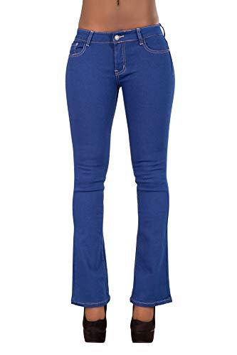 Glook Pantaloni Skinny Donna Jeans Donna a Zampa Elefante Vita Bassa Svasati Elasticizzati Stile Retro (42, Blu)