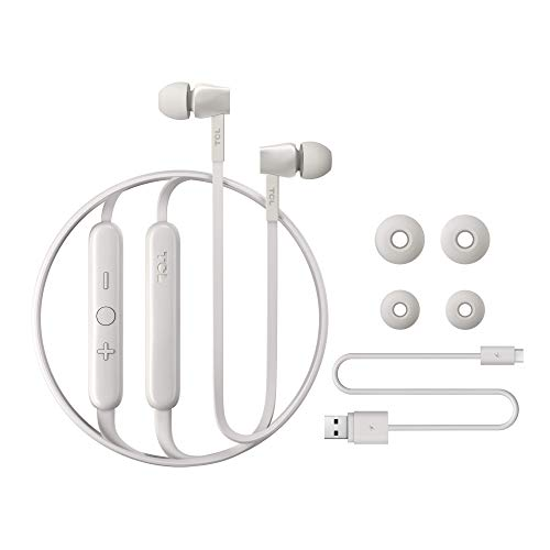 TCL MTRO100BT Wireless In-Ear Kopfhörer mit Mikrofon (Bluetooth 5.0, geräuschisolierend, flexibles Halsband, Fernbedienung und Mikrofon, Echounterdrückung, 18 Stunden Spielzeit), Ash White