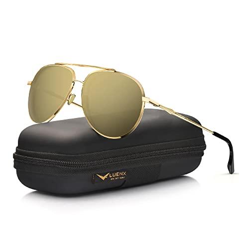 LUENX Aviator Sunglasses Women Men Polarized Mirrored Gold Lens Gold Metal Frame...