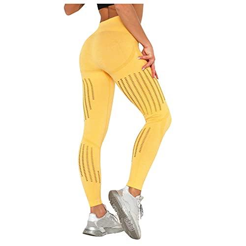 TYTUOO Pantalones de yoga para mujer, informales, elásticos, apretados, push up, yoga, deporte, correr, transpirables, fitness, flaco glúteos, suave, longitud media