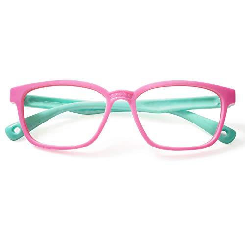 KOOSUFA Kinderbrille Ohne Stärke Blaulichtfilter Brillenfassung Brillengestell Anti Blaulicht Brillen Ultra Licht Rahmen Anti Müdigkeit Partybrille für Jungen und Mädchen (Rosa+grün)