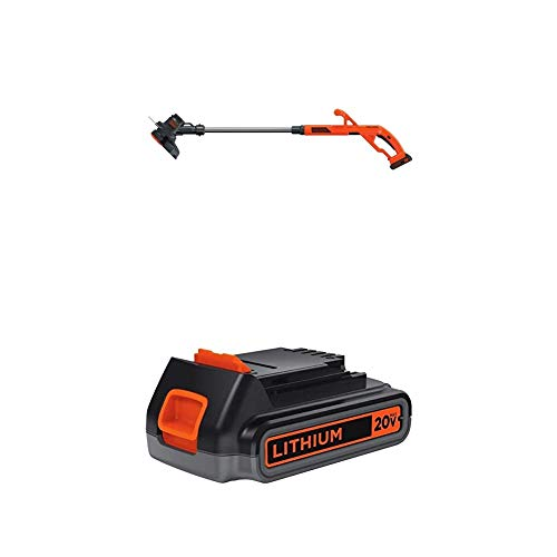 BLACK+DECKER 20V MAX String Trimmer/Edger Kit with Extra Lithium Battery 2.0 Amp Hour (LST201 & LBXR2020-OPE)