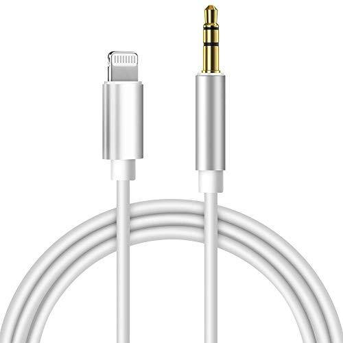 werpower Cable Jack 3.5mm Macho Macho, Cable de Audio AUX Coche -1M, Cable Auxiliar Estéreo para Auriculares, iPhone,iPod, iPad, Echo Dot, Audio de Coche, MP3, Altavoces, para Todos los iOS,Blanco