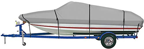 """iCOVER Trailerable Boat Cover for V-Hull,Fish&Ski,Pro-Style,Fishing Boat,Runabout,Bass Boat, Waterproof Tailerable Boat Cover with Storage Bag, up to 16ft-18.5ft Long X 94"""" Wide"""