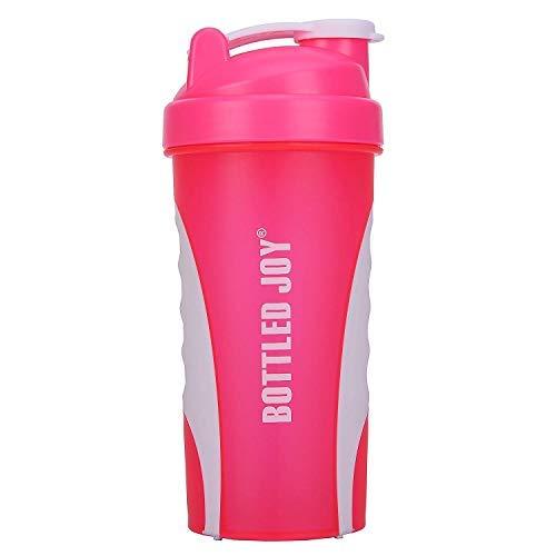 Protein Shaker 800ml mit Sieb Spiralkugel und Skala, BPA Frei Auslaufsicher Rutschfest Eiweißshaker mit BlenderBall, Ideal für Gym Fitness Eiweiß/Protein von BOTTLED JOY (Pink)
