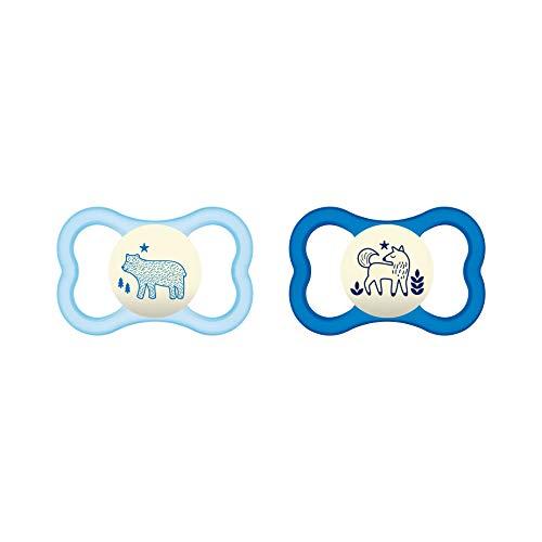 MAM Air Night Silicone fopspeen in set van 2, oplichtende baby fopspeen met fopspeen en luchtig schilddesign, 16 maanden, blauw