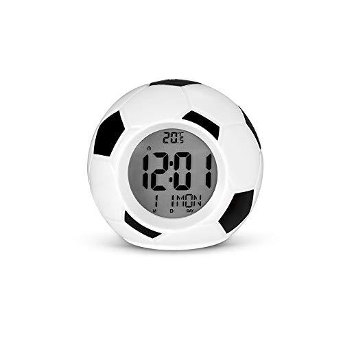 Hbbhbb Nachtlicht LED Fußball Wecker Licht Digital Temperatur Datum und Uhrzeit Anzeigetabelle Kinderzimmer Schlafzimmer Dekoration