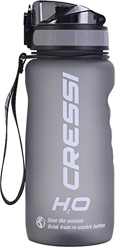 Cressi Water Bottle H20 Frosted, Borraccia Sportiva Unisex, Grigio, 600 ml