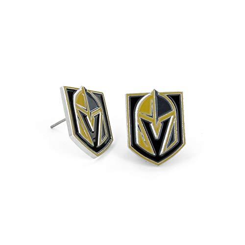 aminco NHL Vegas Golden Knights Logo Post Earrings Black, 2.5