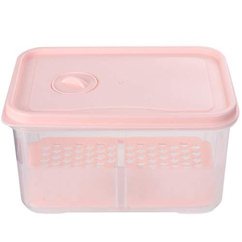Cabilock Scatola Frigo Frigo Cucina in Plastica Contenitore per Drenaggio Alimenti Scomparto Diviso con Coperchi per Frutta Verdura (Rosa Taglia Piccola)