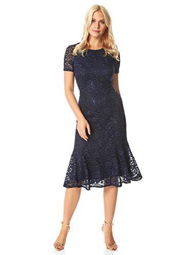 Roman Originals dames kanten jurk met uitlopende zoom - dames jurk voor formele gelegenheden, avonds, bruiloften, feesten, cocktails, bruidsmoeders, paardenraces